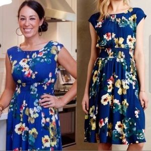 Anthropologie Maeve Evaline blue floral dress